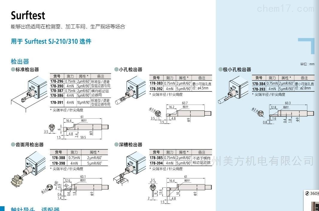 2.8mm三丰粗糙度仪极小孔检测器测针178-393