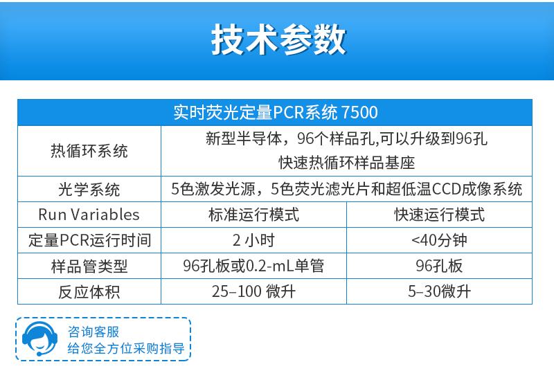 ABI实时荧光定量PCR仪7500技术参数
