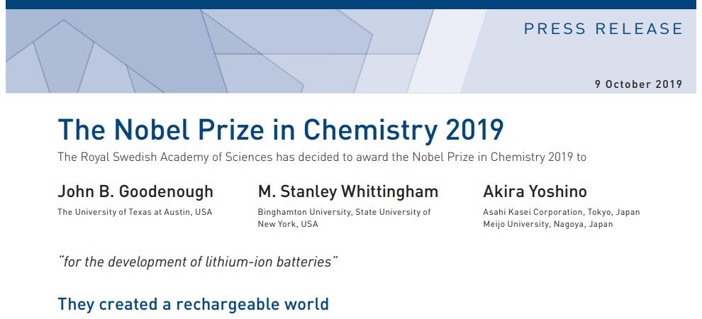 2019化學諾獎花落鋰家,賽默飛為您解密鋰電池材料檢測