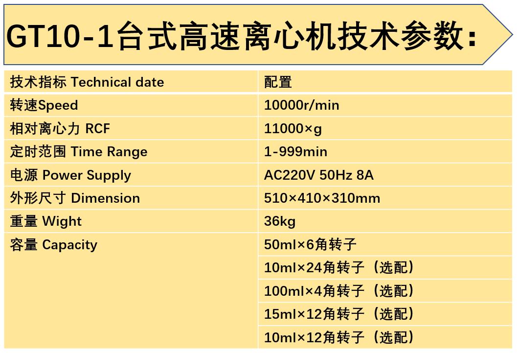 GT10-1高速离心机技术参数